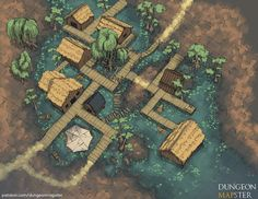 Swamptown my first overhead town map : battlemaps Fantasy city map Dungeons and dragons Isometric map