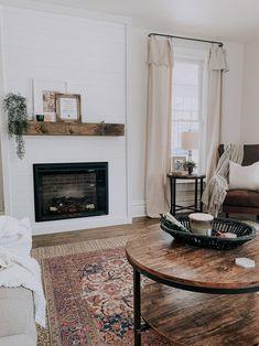 Sure Fire Cozy Enhancer — Our Blue Abode Fireplace Built Ins, Shiplap Fireplace, Home Fireplace, Fireplace Inserts, Living Room With Fireplace, Home Living Room, Living Room Decor, Fireplace Ideas, Fireplace Design