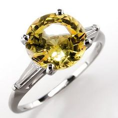 Yellow Sapphire Engagement Ring w/ Tapered Baguette Diamonds Platinum
