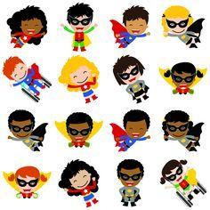 Multicultural Superhero Cutouts