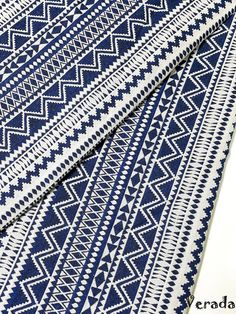 Thai Woven Fabric Tribal Fabric Native Fabric by the yard Ethnic fabric Aztec fabric Craft Supplies Woven Textile 1/2 yard White Blue (WF70)