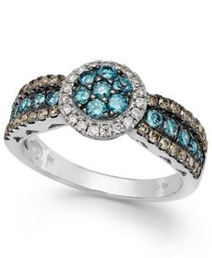 Le Vian Chocolate, Blue and White Diamond Ring in 14k White Gold (7/8 ct. t.w.)