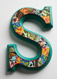 Hand decorated wood letter 'S'  65 Home decor Wall by Jemyem, $10.00