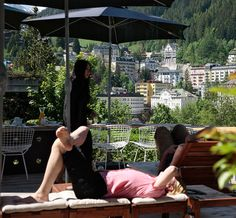 Miramonte Bad Gastein - you´ll never want to be anywhere else. Restaurant, Patio, Spaces, Outdoor Decor, Inspiration, Home Decor, Summer, Biblical Inspiration, Decoration Home