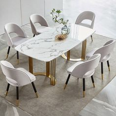 Faux Marble Dining Table Gold Dining Table Rectangular Stainless Steel Dining Table Arlesey Marble Dining Table In Grey With Stainless Steel Legs Faux Marble Dining Table, Stainless Steel Dining Table, Dining Table Design, Steel Table, Chairs For Dining Table, Dining Stools, Kitchen Stools, Modern Dining Chairs, Gold Dining Rooms