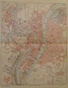 1896 LYON FRANKREICH alte Landkarte Stadtplan Antique City Map Lithographie