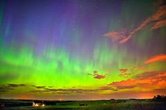 Multicolored aurora. Northern Calgary, Canada.