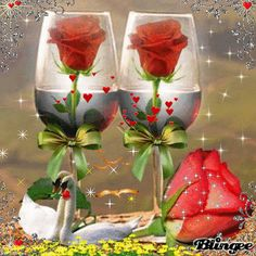 Happy Anniversary Wishes, Birthday Wishes, Happy Birthday, Beautiful Love Pictures, Love Images, Beautiful Roses, Beautiful Flowers, Wine Glass Images, Love You Gif