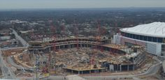Great shot of the construction of the new stadium in Atlanta that will open with the debut of MLS Atlanta in 2017, Falcons will borrow $850 million for stadium construction. http://www.ajc.com/news/sports/football/falcons-will-borrow-850-million-for-stadium-constr/nk48c/