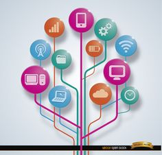 This vector shows many technologic elements as icons on a tree of digital conections: internet, computer, smartphone, battery, etc. This is so perfect for posters