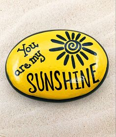 Rock Painting Ideas Discover You Are My Sunshine Encouragement Rock Affirmation Stone Hand Painted Rock Christmas gift Teacher gift stocking stuffer Painted Rocks Rock Painting Patterns, Rock Painting Ideas Easy, Rock Painting Designs, Paint Designs, Rock Painting Ideas For Kids, Rock Painting Pictures, Pebble Painting, Pebble Art, Stone Painting