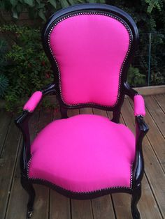aprés Pink Furniture, Colorful Furniture, Painted Furniture, Create Your Own Furniture, Striped Wedding, Chair Makeover, Painted Chairs, Take A Seat, Repurposed Furniture