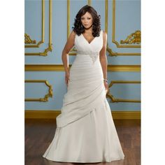 A Line V Neck Empire Waist Ruched Satin Plus Size Wedding Dress Corset Back