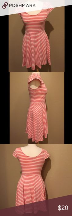 LC Lauren Conrad Sweet Striped Skater Dress Super cute and casual dress by LC Lauren Conrad! On trend Skater style with cute stripe pattern! Gently used, size M, stretchy and comfortable! LC Lauren Conrad Dresses Mini