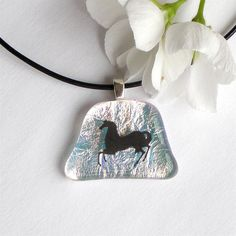 Dichroic Fused Glass Pendant Necklace by GreenhouseGlassworks