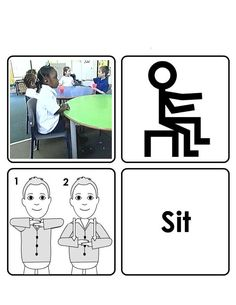 Sit Sign Language For Kids, American Sign Language, Makaton Signs British, Bsl, Early Intervention, Communication Skills, Pre School, Autism, Symbols