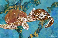 Villafana Art - Art of Marcy Ann Villafana saved to Turtles of the Caribbean Paper Works Cut Paper, Paper Cutting, Kate Shaw, Medium Cut, Photo Series, Ocean Art, Mosaic Art, Turtles, Quilling