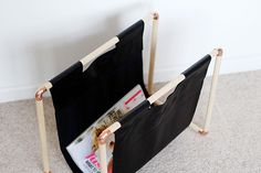 DIY Copper and Pine Magazine Rack - it won't be making a magazine rack, but this is a great construction method.