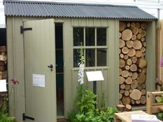 garden shed and log store - looks good, but I don't think Kev would want to wast the shed space: