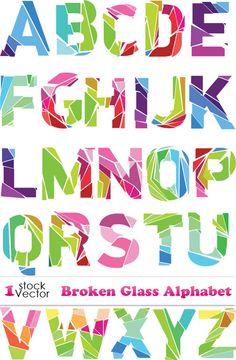 Векторный алфавит - битое стекло. Broken Glass Alphabet Vector