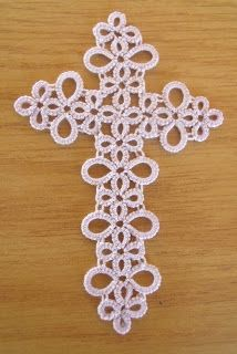 .tatted cross bookmark