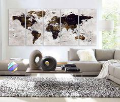 XLARGE 30x70 5 Panels Art Canvas Print Watercolor Map by BoxColors
