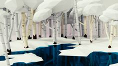 3Dcember/Day 5/ Calm snowy birch tree forest