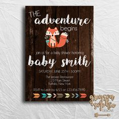 Woodland/Fox Themed Baby Shower Invitation   https://www.etsy.com/listing/448720822/woodland-tribal-themed-baby-shower