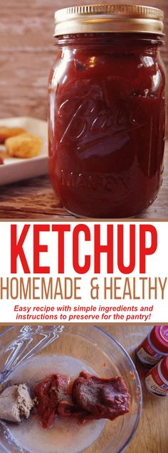 This homemade and healthy ketchup recipe is a KEEPER! Learn how to preserve this food staple for the pantry in the post. Healthy Ketchup Recipe, Tomato Ketchup Recipe, Homemade Ketchup Recipes, Homemade Seasonings, Homemade Sauce, Canning Recipes, Low Sodium Ketchup Recipe, Tomato Paste Recipe, Homemade Baby