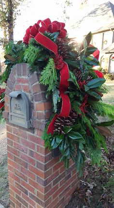three piece mailbox saddle from andys creekside nursery in vestavia hills al mixed greenery brick mailboxchristmas