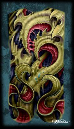 バイオメカ,バイオタトゥー,フラッシュアート,背中のタトゥーデザイン タトゥーナビ