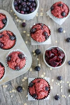 Baby Muffins, Toddler Muffins, Baking Muffins, Beet Recipes, Baby Food Recipes, Dessert Recipes, Smoothie Recipes, Muffins Blueberry, Blue Berry Muffins