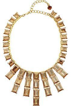 Kenneth Jay Lane 22-karat gold-plated Swarovski crystal necklace