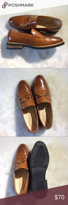 Calf leather loafers Professionally made by a small business shoemaker. 80% of my own shoes are from this shoemaker whose quality often beats the big brands. Calf leather upper, very fine material, do not kick around to avoid scratching. Pig leather lining and removable insole. Rubber outsole. Insole nicely cushioned. Last photo shoes a size 8 colehaan insole as comparison. Inside on the posterior there are leather cushioning stickers that i put on for better friction and comfort. Only worn…