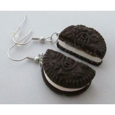 Oreo Cookie Earrings (790 RSD) ❤ liked on Polyvore featuring jewelry, earrings, 14k jewelry, earring jewelry, 14k earrings, 14 karat gold jewelry and clay jewelry
