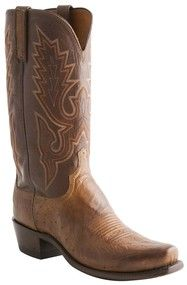 Lucchese Heritage Mens Barnwood Burnished Smooth Ostrich Leather Cowboy Boots N9581