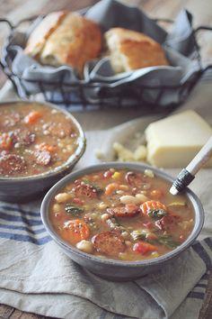 Crockpot Tuscan Chicken Sausage Soup #clean eating #gluten free #crockpot