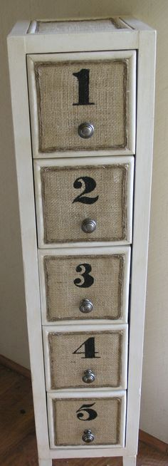 Number the file cabinet drawers in an antique font. Vintiquities Home - Updated CD Tower Diy Garden Furniture, Diy Furniture Projects, Old Furniture, Refurbished Furniture, Repurposed Furniture, Furniture Makeover, Furniture Market, Cheap Furniture, Diy Storage Tower