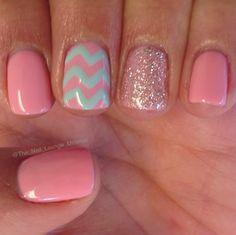 Mint pink girly chevron nail art design