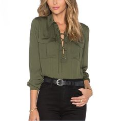 Army Green Blouse Women Long Sleeve Shirts Asymmetric Bottom 2017 Spring New Chest Flap Pockets Lace Up V-Neck Free Shipping
