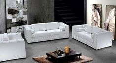 3 pcs Modern Acrylic Crystals White Leather Sofa Set with Sofa Loveseat Chair