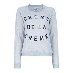 ZOE KARSSEN 'Creme de la Creme' sweatshirt ($140) ❤ liked on Polyvore featuring tops, hoodies, sweatshirts, shirts, sweaters, t-shirts, cream long sleeve top, sweat shirts, cream sweatshirt and print shirts