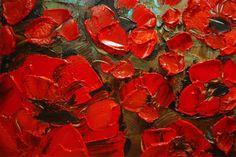 ORIGINAL Abstract Art Blue Red Poppies Painting por ModernHouseArt