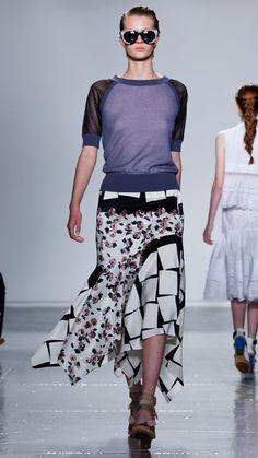 Saddle Short Sleeve Crew - Mesh Knit Assymetrical Hem Pencil Skirt - Floral Cubes Combo