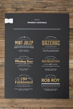 Limited Run Classic Whiskey Cocktails poster. Metallic gold and white screen print on 100 lb Black paper. Handcrafted die cut sticker $35