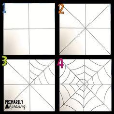Primarily Speaking: Spider Web Art Tutorial Charlottes Web Activities, Spider Web Drawing, Spider Web Craft, Spider Crafts, Halloween Kunst, Spider Net, Fall Art Projects, Halloween Art Projects, Manualidades Halloween