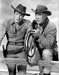 Wagon Train - an American Western series that ran on NBC from 1957–62 and then on ABC from 1962–65.  Starring - Ward Bond  Robert Horton  John McIntire  Robert Fuller  Michael Burns  Frank McGrath  Terry Wilson  Denny Scott Miller