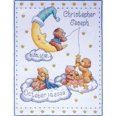 "Bears In Clouds Birth Record Counted Cross Stitch Kit-11""""X14"""" 14 Count"