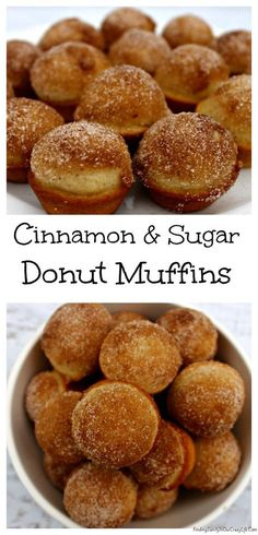 Get ready to enjoy the taste of Cinnamon & Sugar Donuts in a bite sized muffin. Easy to make & even easier to eat. #Donuts #Muffins
