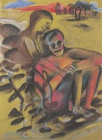 Father and Son -I by Bhupen Khakhar